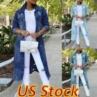 US Women Distressed Denim Coat Long Sleeve Button Up Long Jean Jacket Outwear