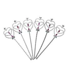 6x Silver Princess Wand Fairy Cosplay Love Heart Magical Sceptre Plastic