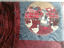 Vintage Hand Quilted Cotton Quilt On Farm Feeding Ducks Burg/Blue 58x48 6 patch