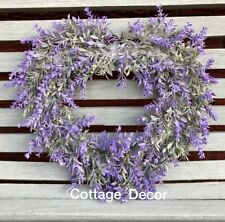 "15""/ 40cm SHABBY CHIC ARTIFICIAL LAVENDER WREATH HEART SHAPE HOME COUNTRY DECOR"