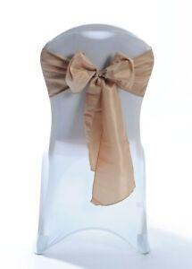 100 Camel Taffeta Chair Cover Wedding Sash Bow Wedding Party UK