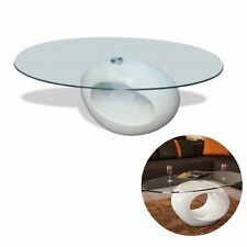 Modern High Gloss Glass Top Coffee Table White Round Side Dinner Office Home