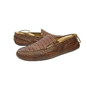 Martin Dingman Croc Pattern Leather Driving Loafers Shoes Mens 11.5 M