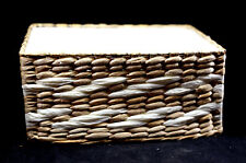 """Wire Frame Woven Straw And Twisted Paper Shelf Basket Cloth Lined - nearly 10"""""""