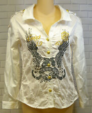 Coogi Couture White Gold Button Front Fitted Blouse Dress Shirt Youth Jr 16 XL