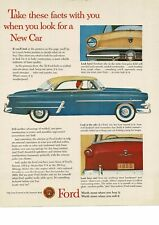 1953 FORD Crestline Blue and Yellow 2-door Coupe art Vintage Ad