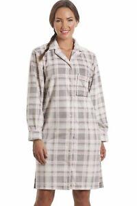 Camille Womens Ladies Nightwear Grey Checkered Fleece Button Front Nightshirt