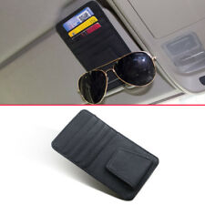 Black Leather Car Truck Interior Sun Visor Card Glasses Case Accessories Holder
