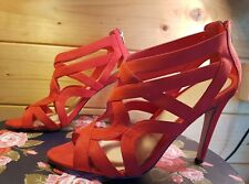 OFFICE RED SUEDE ZIP BACK SANDALS - SIZE 40 UK 7
