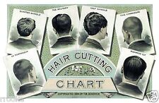 1884 Hair Cutting Chart Fine Art Print / Poster Barber Hair Stylist Styling