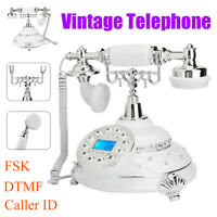 Retro Vintage Corded Landline Telephone Wired Desktop Phone FSK DTMF Caller ID