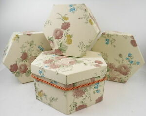 Lot of 4 Whitmor Whitney Hat Boxes Hexagonal Cardboard Floral Storage Containers