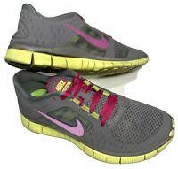 Nike Free Run 3 Womens Gray Pink Yellow Running Shoes Size 8.5