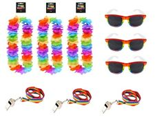 3 SETS OF GAY PRIDE LGBT RAINBOW FESTIVAL WEAR - SUNGLASSES WHISTLES & GARLANDS