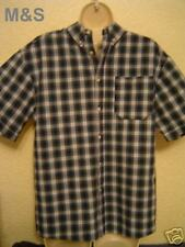 "BNWOT BOYS CHECKED M&S 15"" BUTTONED COLLAR SHORT SLEEVE SHIRT 100% COTTON"