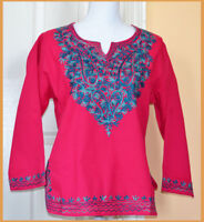 Embroidered Cotton Tunic Top Kurti Blouse in Hot Pink Magenta Color from India!