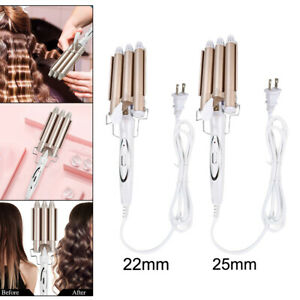 Electric Hair Waver Hair Crimpers Tongs Hair Curler 3 Barrel Quickly Heated