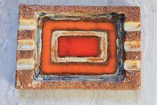 Céramique Années 50 : Plat Rectangulaire émaillé Orange Rouge Bleu Modernisme