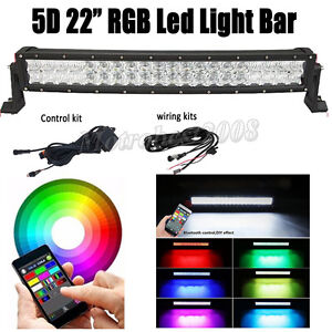 """22"""" inch RGBW Led Curved Work Light Bar Offroad Wireless Bluetooth Wiring Kit"""