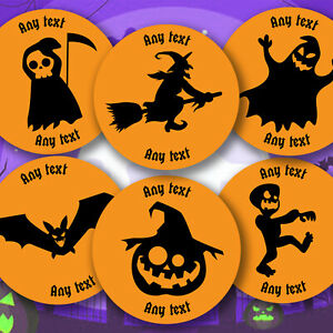 Personalised Halloween Any Text  Stickers sweet cone Various Designs Party Bag