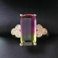 4.75 Ct Baguette Red Moonstone Ring Women Jewelry 14K Rose Gold Plated Free Ship