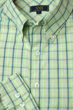XMI Men's Lime Green & Blue Check Cotton Casual Shirt L Large