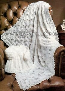 Baby shawl coat knitting pattern in 4ply. Fine lace pattern Christening blanket.