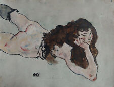 A Fine Expressive study of a woman, signed, Egon Schiele with COA Dali Klimt Era