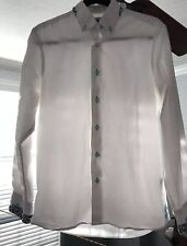 Coogi Luxe Mens Dress Shirt White Teal Green Paisley Trim. Small. MSRP $140