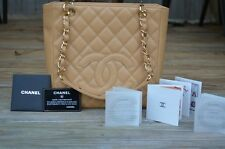 CHANEL PETIT SHOPPING TOTE PST BAG PURSE CAVIAR LEATHER BEIGE WITH GOLD HARDWARE