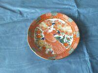 Arita Imari Peacock 6in. Saucer   gold Rim Japan