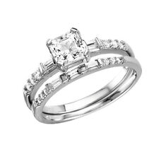 925 STERLING SILVER SQUARE CENTER  RING & BAND W/  DIAMOND/ SZ 5-9/ NEW DESIGN!