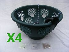 4 x 14 Inch Green Plantopia Easy Fill Hanging Baskets Complete Kit Free Postage!