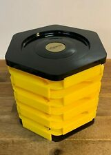 Vintage Audiosonic Audio Cassette Library Storage Spindle Carousel Yellow