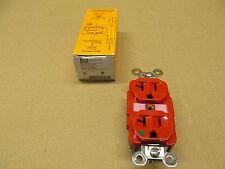 1 NIB HUBBELL HBL8300R 8300R RECEPTACLE NEMA 5-20R 2 POLE 3 WIRE 20A 125V RED
