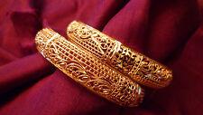 GOLD PLATED 2 BANGLES KADAS INDIAN WEDDING JEWELLERY FESTIVE MEDIUM SIZE BRIDAL
