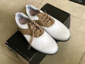 * NEW * Footjoy eMerge Leather Womens Golf Shoes Size 9.5 Med White/Taupe 93914