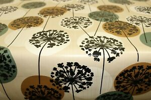 PVC Dandelion Circles Natural  Oilcloth Vinyl Tablecloth Wipe Easy 140CM Wide