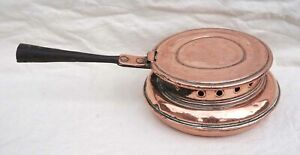 """French Bed Warmer Copper Wrought Iron Handle Ø 9 1/4"""" Normandy 18th C"""