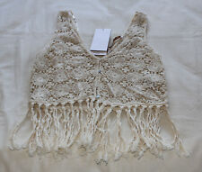 Zara Trafaluc Collection Ladies Crochet Lace Tassel Crop Top Size M