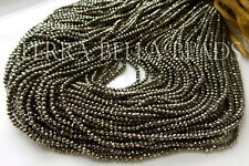 "13"" strand natural golden AAA PYRITE faceted gem stone rondelle beads 2mm"