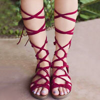Women's Summer Gladiator Knee High Leg Wrap Lace Up Flat Shoes Sandals Boots