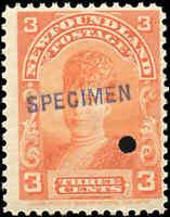 1897-1901 Canada SPECIMEN Mint NH Newfoundland 3c F+ Scott #83 Royal Stamp