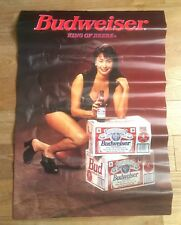 VINTAGE 1970s BUDWEISER BEER POSTER~ SEXY BRUNETTE PIN-UP ~MADE IN USA ~ 30 x 21