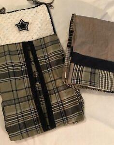 Dolly Baby Boy Crib Dust Ruffle Bed Skirt & Diaper Stacker Navy Plaid Stripes