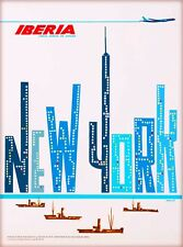 New York City Iberia Airlines United States Travel Advertisement Art Poster
