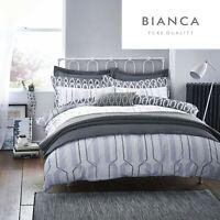 Bianca GEO COTTON PRINT 100% Cotton Soft Duvet Cover/Quilt Cover Set Grey