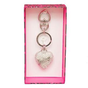 NEW Juicy Couture Crystal Pave Heart Key Fob Purse Charm in Silver