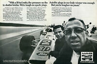 1970 Autolite Spark Plugs Mario Andretti Ford STP Indy Car 2 Page Print Ad