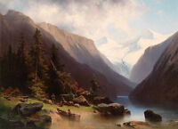Art Oil painting Fishermen in the canyon with canoe by the river handpainted